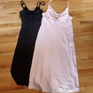 Lot of 2 Long Nightgowns size L/XL pink/black